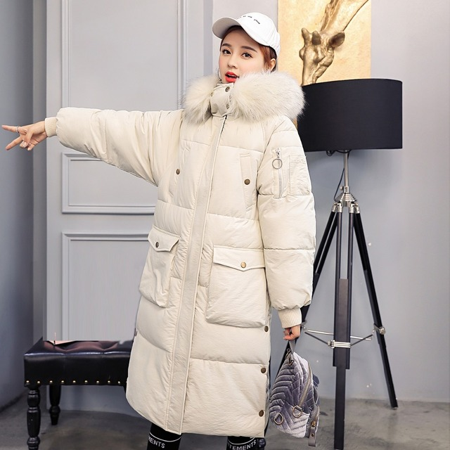 New Fashion Winter 2018 Women Big Size Warm Top Wadded Coat Female Casual Long Thickened Down Cotton Overcoat Slim Padded Jacket