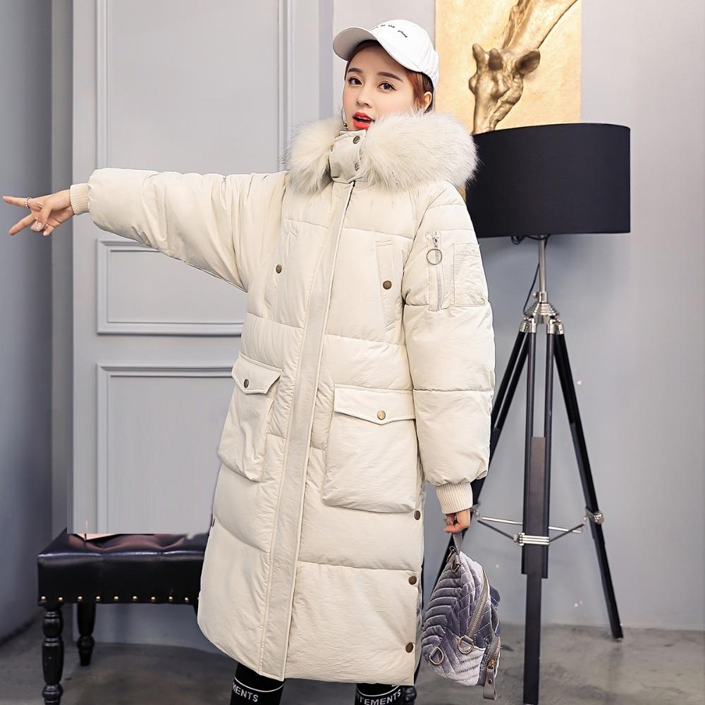 Veste Le Chaud Vers Nouvelle Top Femme Casual Grande Taille Coton Long D'hiver Rembourré Noir vert Manteau orange blanc 2018 Femmes Épaissie Bas Mode Mince Ouatée xwFqwaZYR