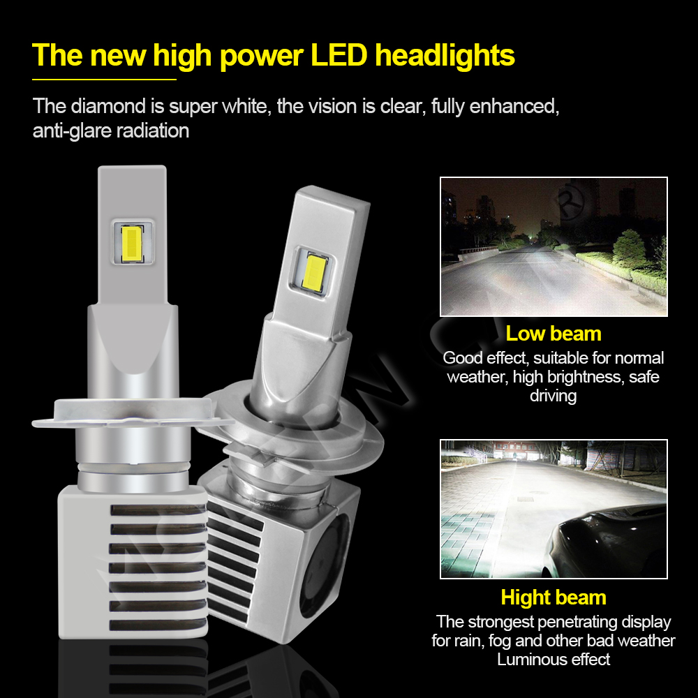 Modern Car CSP H7 Led Headlight Bulb 2019 New Side Fan Cooling Design Mini Size 60W 9000LM Headlights 12V 24V Car Headlamp Bulbs in Car Headlight Bulbs LED from Automobiles Motorcycles