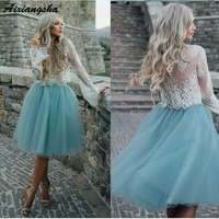 A Line Two Piece Bateau Short Prom Dress Graduation Party Gown Turquoise Tulle Homecoming Dresses with Lace Long Sleeves