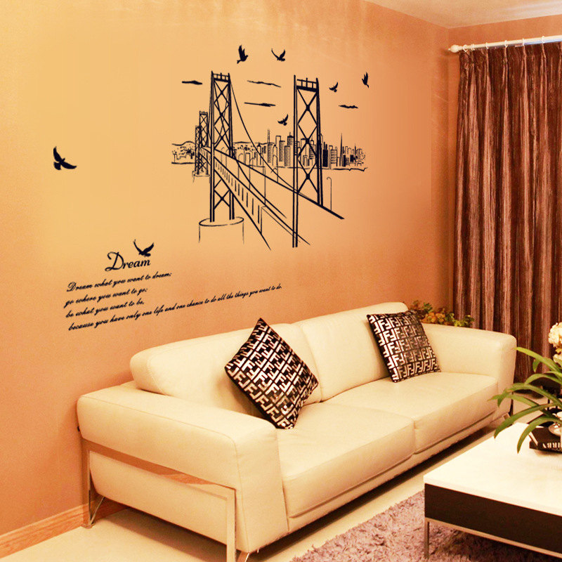 Wall Sticker San Francisco Bridge Silhouette Living Room Study Office Background Decoration Sticker