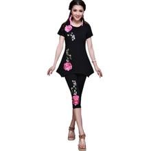Spring Summer Women 4XL T Shirt Embroidery Black White Blusas Feminina Cotton T-Shirt Clothes Quality Elegant Body Tops Tee
