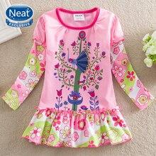 Girl Dress NEAT o-neck Cotton Sleeve Cute Pink Flower Pattern Fashion Long Princess lovely L358