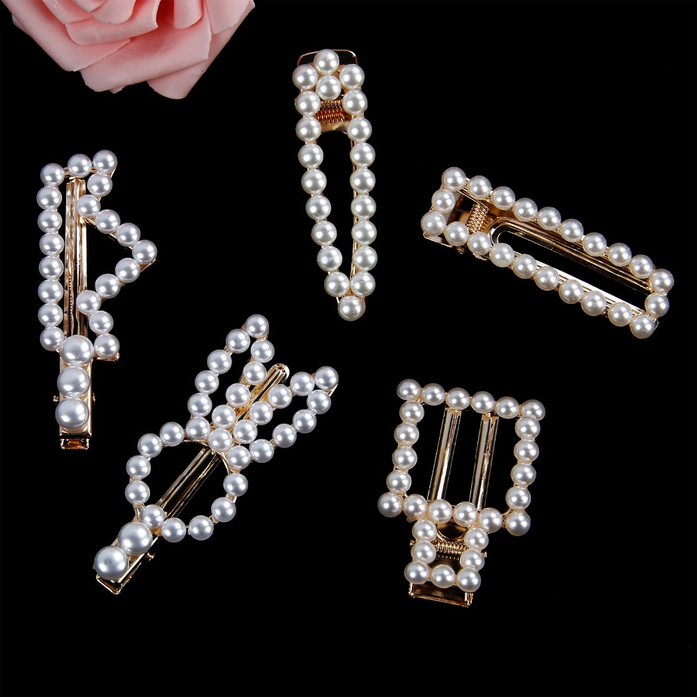 2019 Springtime New Stylehair clips full pearls hairclip Metal wholesale drop sale Hairpins BB Hairgrip Girls Hair Accessories