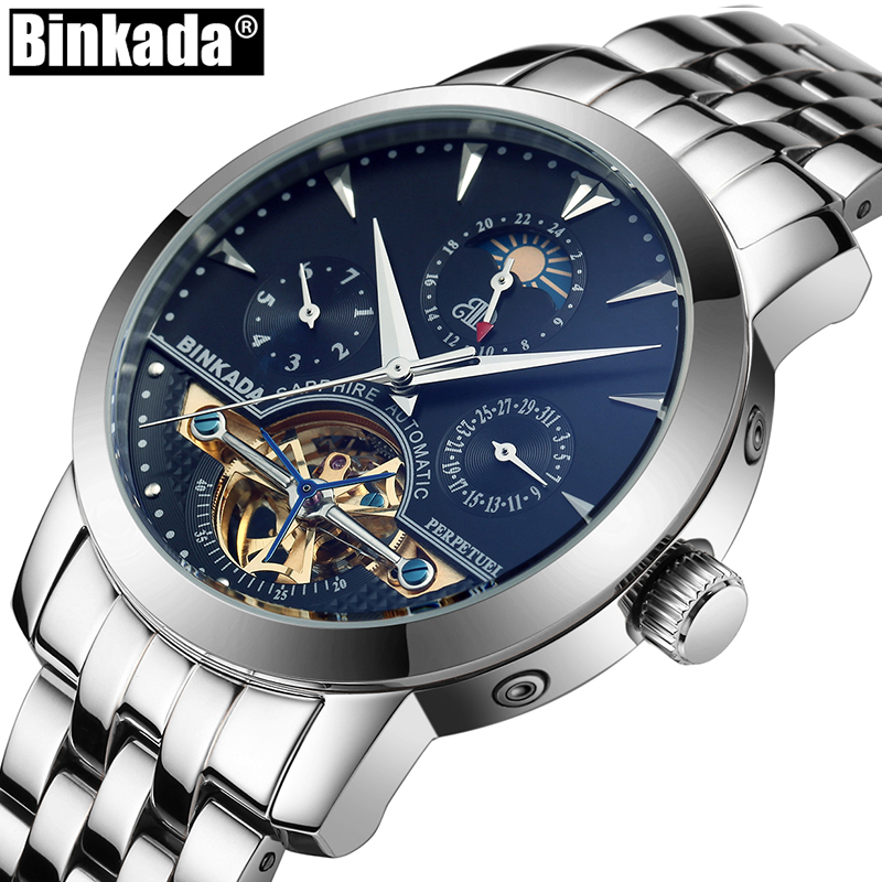 BINKADA Skeleton Tourbillon Mechanical  Watches Relogio Self Wind Luxury Full Steel Business Mens Automatic Watch 2017 men watches skeleton hollow fashion tourbillon mechanical hand wind mens lige luxury business all steel strap wrist watch