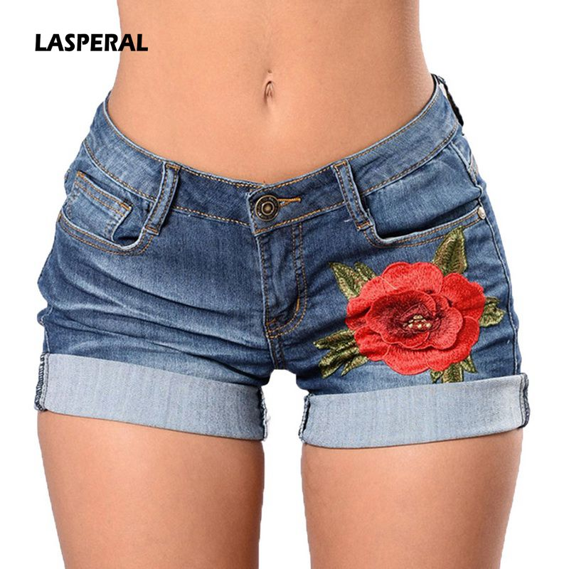 LASPERAL 2019 Fashion High Waist Femme Vintage Shorts Casual Denim Shorts Women Summer Floral Embroidery Sexy Mini Short   Jeans