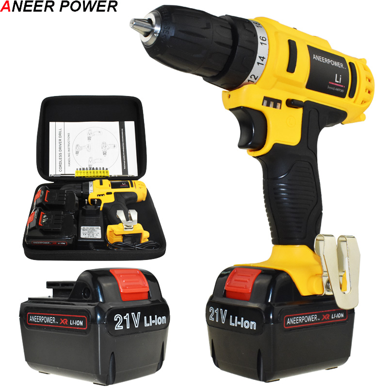 35 N/M Torque 21V Electric Screwdriver Battery Drill Cordless Drill Power Tools Electric Drill Batteries Screwdriver +Woven bag 21v power tools double speed hand electric drill cordless drill battery drill electric screwdriver mini drilling 45 n m torque