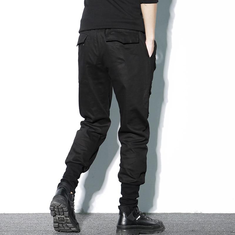 Image 3 - Брюки шаровары мужские, хлопковые, черные, на молнии, с  карманами, повседневные, тонкие, весенниеПовседневные брюки   -