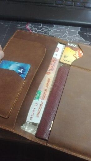Echt leer paspoort Cover reisdocument Geval lucht ticket Portemonnee Licentie Creditcardhouder photo review