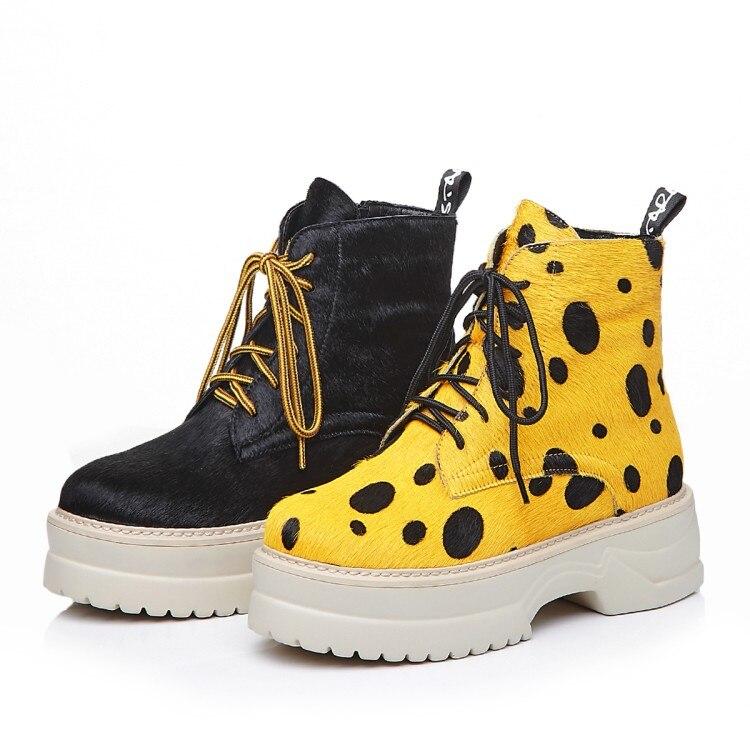 MLJUESE 2018 kobiety kostki buty z włosia końskiego zasznurować rzym styl żółty kolor zimowe krótkie pluszowe platformy buty damskie buty w Buty do kostki od Buty na  Grupa 2
