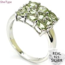 15x10mm SheType 3.8g Green Amethyst Gift For Girls 925 Solid Sterling Silver Rings