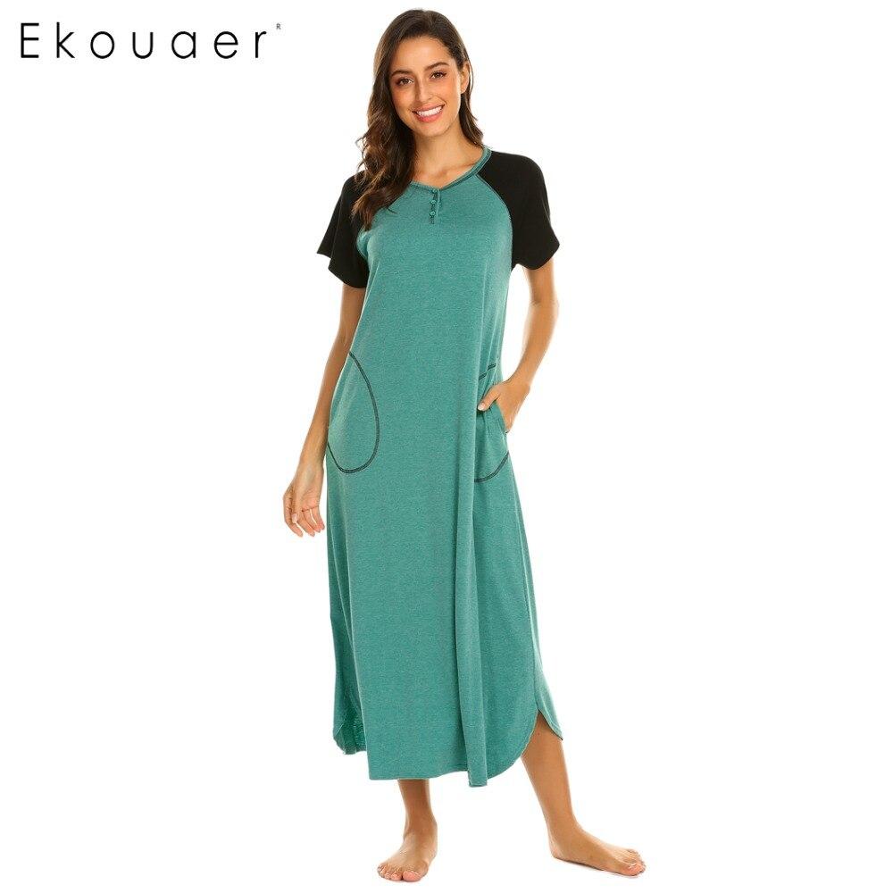 Ekouaer Women Nightshirt Sleepwear Dress V-Neck Short Sleeve Patchwork Long Nightgown Chemise Nightdress Soft Lounge Dress