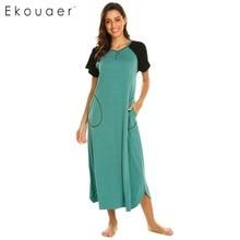Ekouaer 여성 nightshirt 잠옷 복장 v 목 짧은 소매 패치 워크 긴 잠옷 chemise nightdress 소프트 라운지 드레스