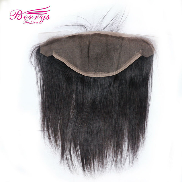 [Berrys Fashion] 13x6 Lace Frontal Brazilian Virgin Hair Free Part Natural Hairline With Baby Hair Natural Color 10-20 Inch