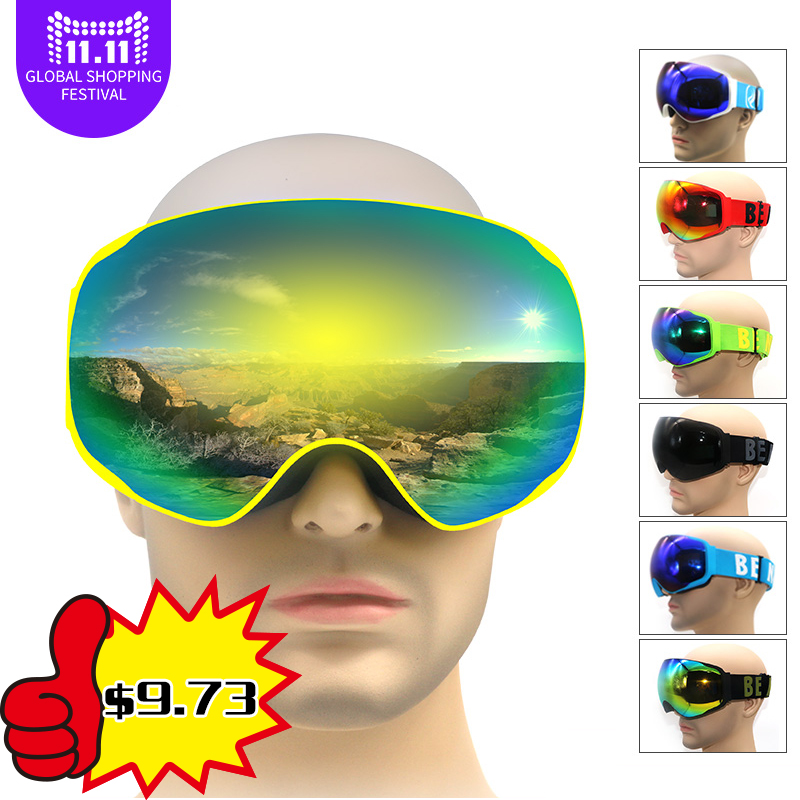 Professionnel snowboards ski lunettes de neige lunettes snowboard lunettes anti brouillard UV400 grande vue d'hiver lunettes pour adulte hommes femmes