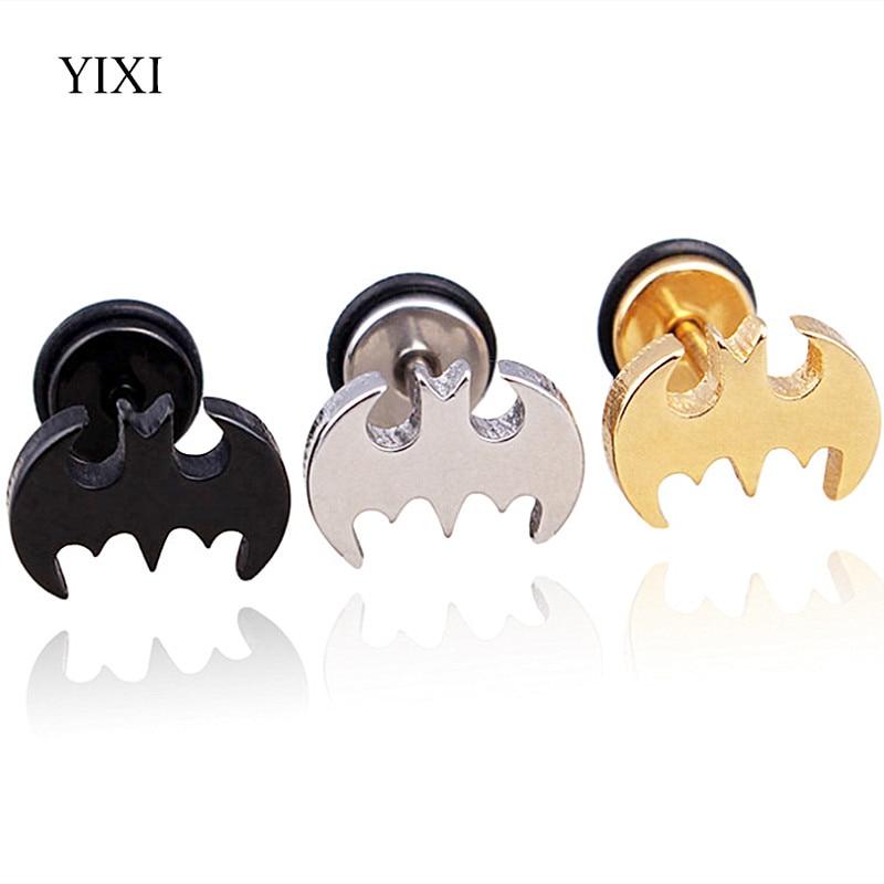 YIXI Punk Cool Bat Earrings Men Ear Studs Staniless Steel Jewelry Women Korean Charms Pendientes Animal Male Stud Earrings
