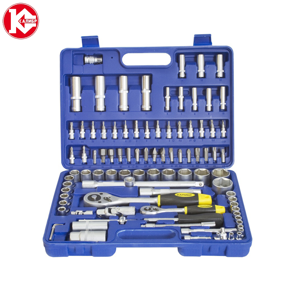Cr-v hand tools set Kalibr NSM-94, 94pc Spanner Socket Set Car Vehicle Motorcycle Repair Ratchet Wrench Set 8 in 1 practical repair opening tools set kit for ipad