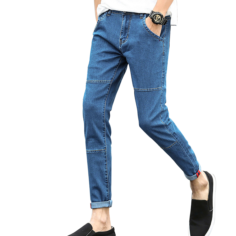 Fashion Mens Skinny Jeans Pocket Slim Fit Denim Pants All-Match Long Trousers