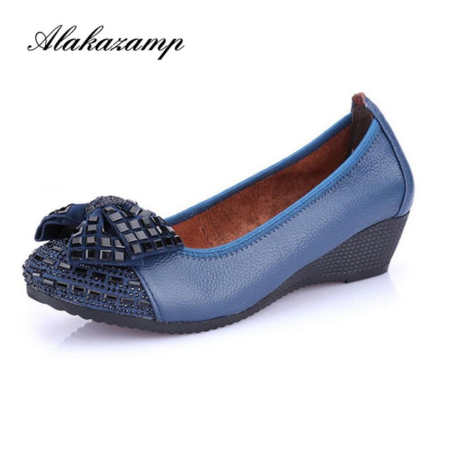 Brand New 2019 Fashion Women Wedge Shoes Genuine Leather Round toe High Heels Pumps Woman Mom Shoes Gift for mother AK135