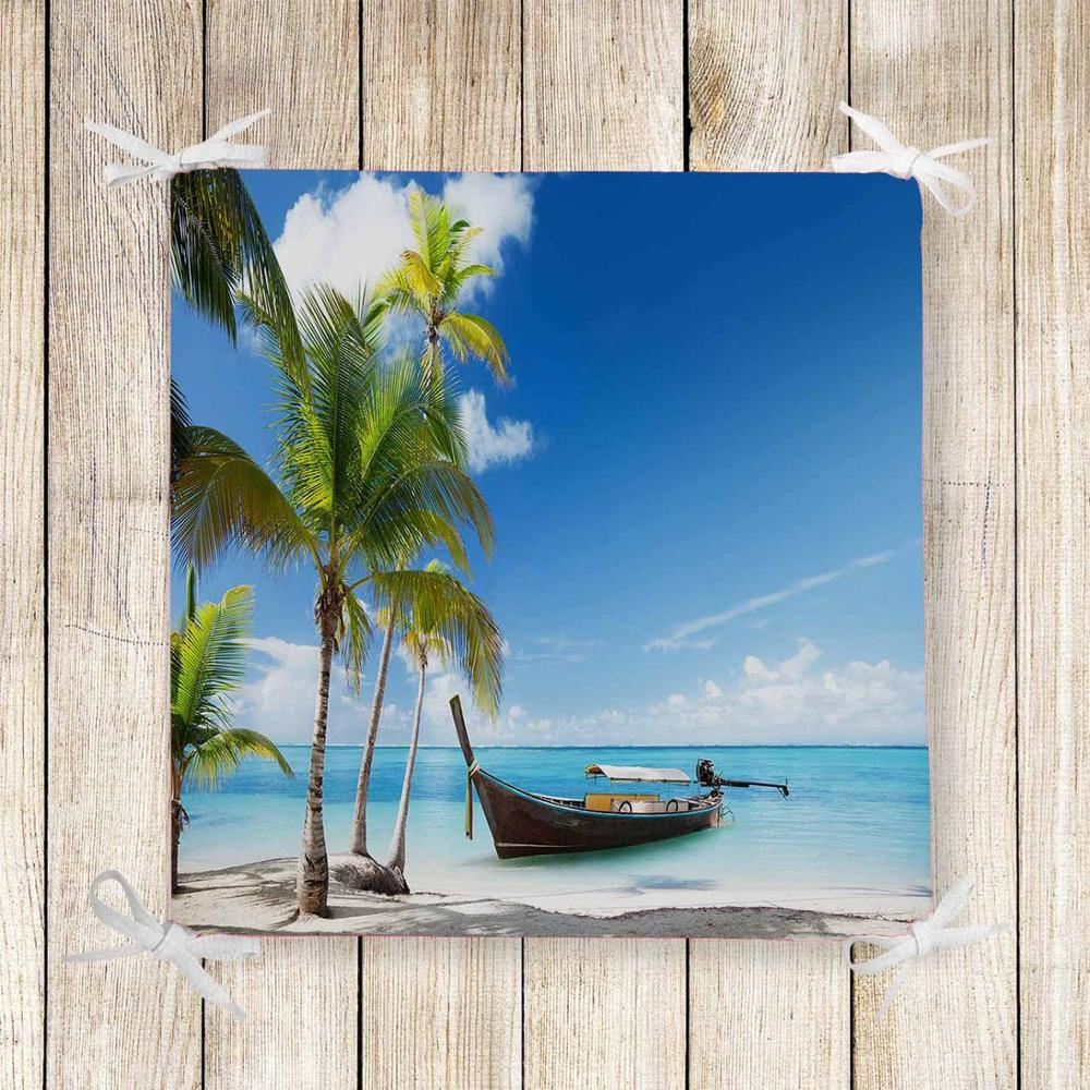 Else Palm Trees Blue Sea Side Sandals 3d Print Chair Pad Seat Cushion Soft Memory Foam Full Lenght Ties Non Slip Washable Zipper