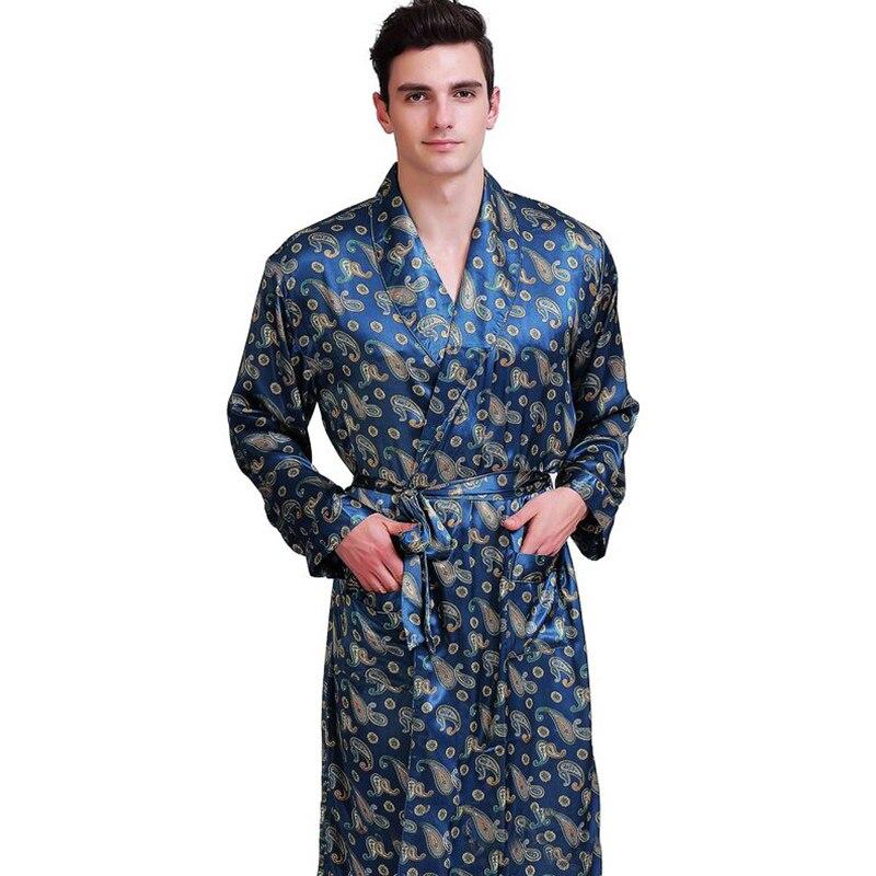 Hommes Satin De Soie Robes Peignoir Chemise De Nuit Pyjamas Nuit S