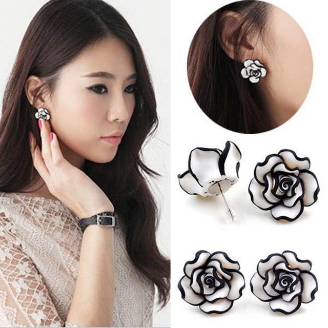 9a7a35210 Drop Shipping New Arrival Elegant Fashion Cute Temperament Womens Ladies  Girls Rose Flower Stud Earrings Jewelry