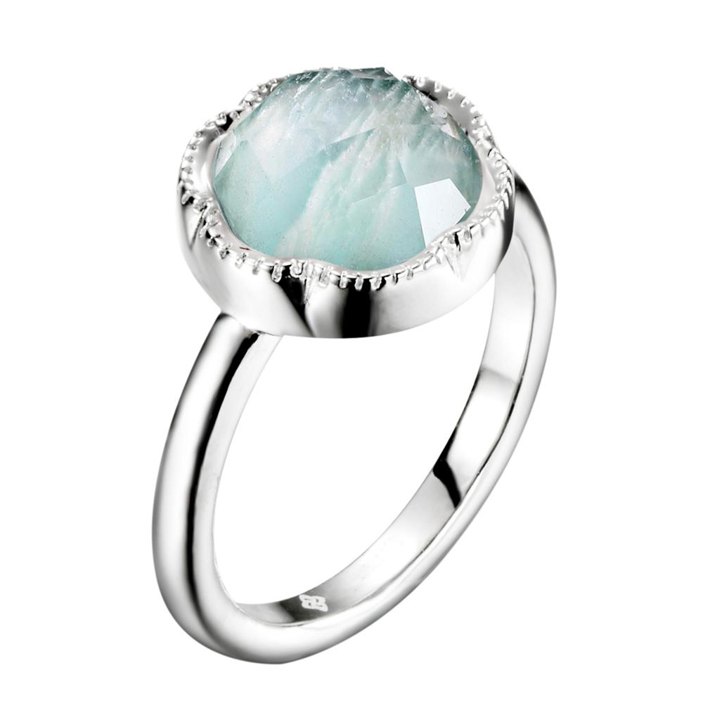 Dormith  Women's Real  925 Sterling Silver Rings 10*10mm Natural  Amazonite Rings For Women Jewelry Gemstone Rings