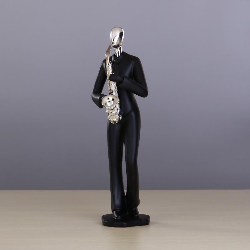 Résine noire argent tête saxo guitare sculpture concert artisanat cadeaux ornements - 5