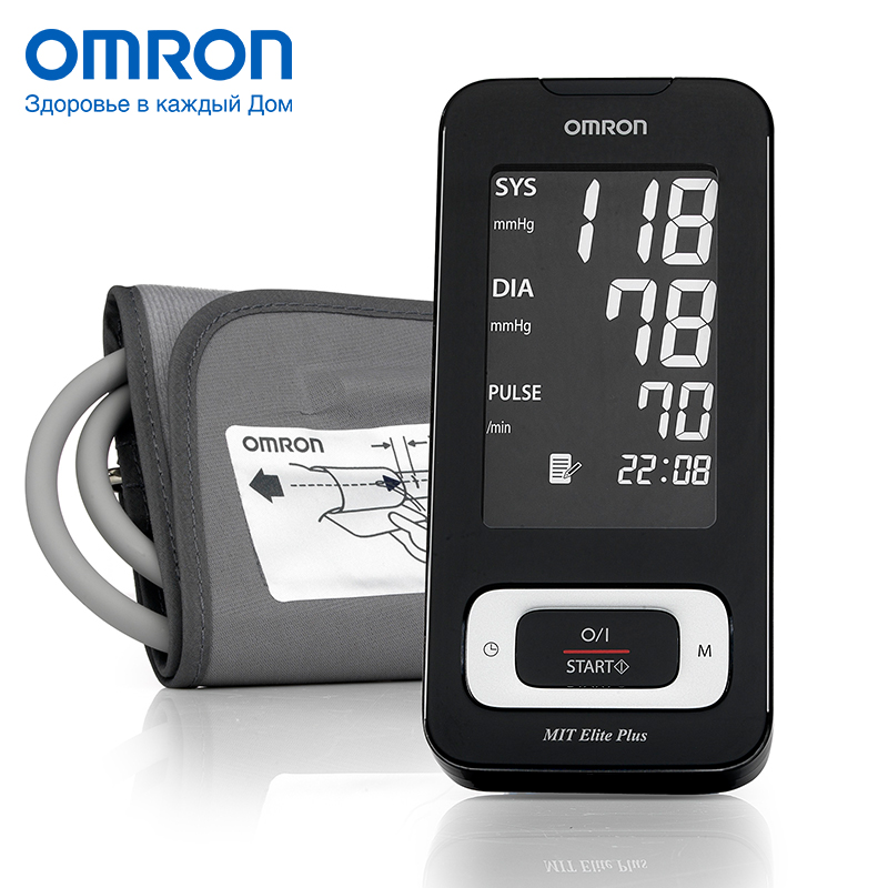 Omron MIT Elite Plus HEM-7301-ITKE7 Blood pressure monitor Home Health care Heart beat meter machine Tonometer Automatic Digital omron bf212 hbf 212 ew body fat monitor home health care body fat monitors digital analyzer fat meter detection