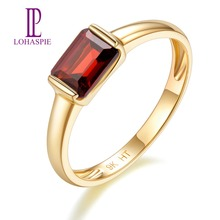 100% Natural 9K Yellow Gold 1 Carat Red Garnet Ring for Women Wedding Engagement Gemstone Ring Fine Jewelry Valentine's Gift