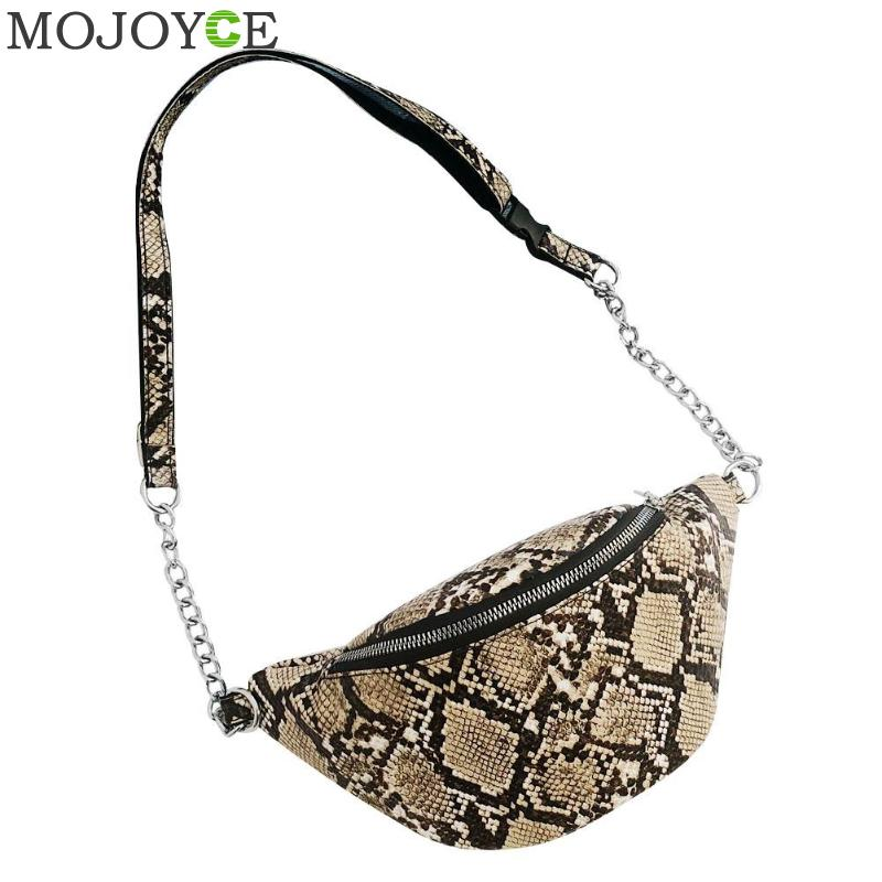 Snake PU Leather Shoulder Waist Bag Small Crossbody Bag For Women Fashion Female Chain Messenger Bag Bolso Femenino
