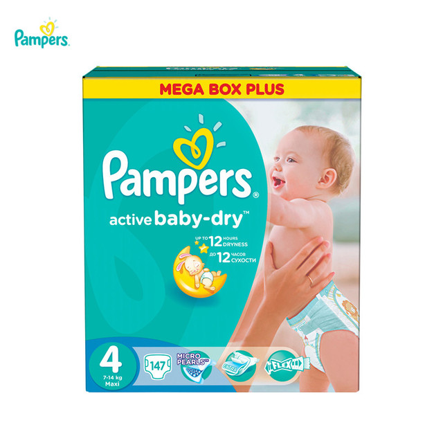 Подгузники PAMPERS Active Baby-Dry Maxi 7-14 кг Mega Plus 147
