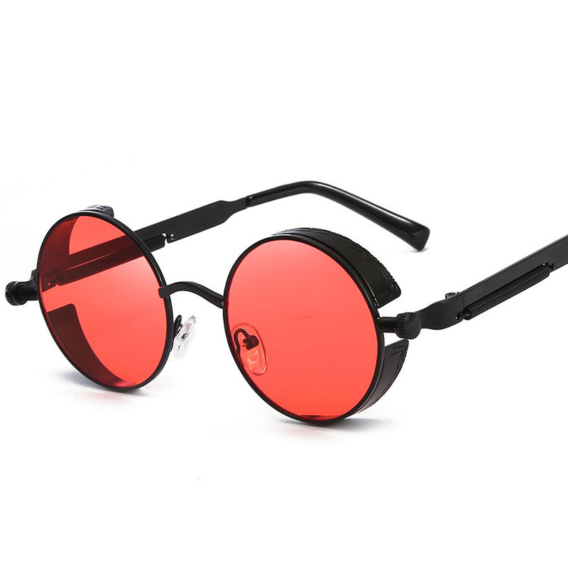 Metal Steampunk Sunglasses Men Women Fashion Round Glasses Brand Design Vintage Sunglasses High Quality UV400 Eyewear Shades high quality square oversized sunglasses