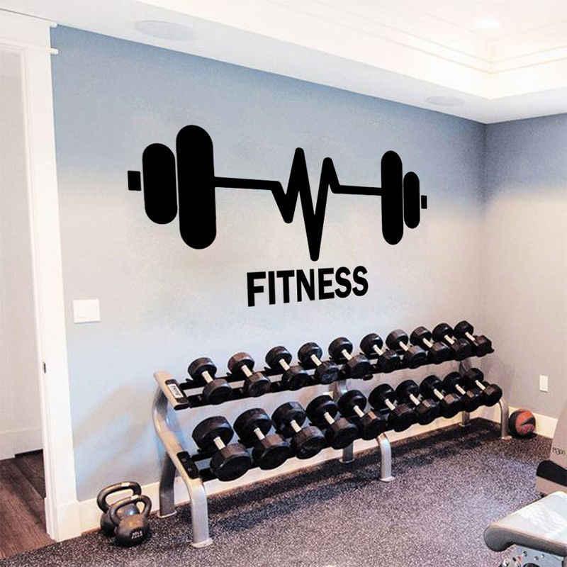 Spor Gymnasium Duvar sticker ev dekor Spor Salonu Spor Duvar Çıkartması Fitness Ağırlık Kaldırma Barbell duvar resmi Vücut Güç Dekor AY08