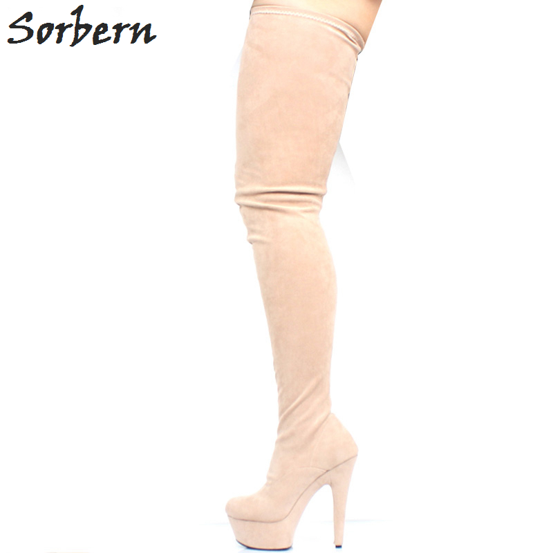 Sorbern Nude Over The Knee Boots For Women 15Cm Spike High Heels Platform Boots Plus Size Classic Shoes Custom Color Heel Boots sorbern matt stilettos metal heels 12cm boots women black over the knee boots women shoes size 44 custom plus size leg boots