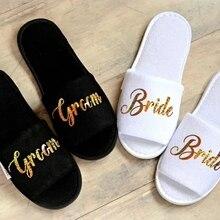 Индивидуальное роли свадебные тапочки невесты тапочки жениха Тапочки пользовательские золотой блеск принтом обувь черные Тапочки