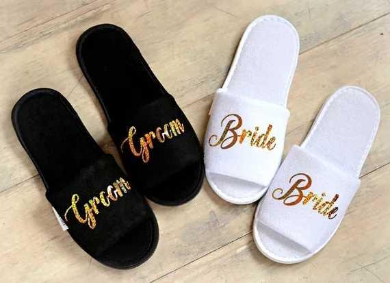 1bf1436c87ea8 Personalised roles Wedding Slippers Bride Slippers Groom Slippers ...