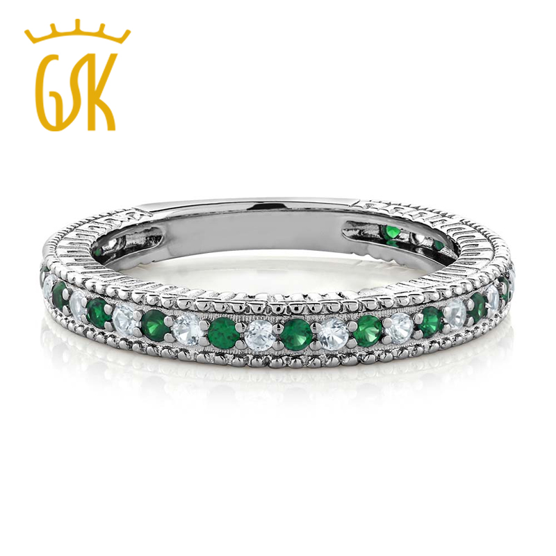 GemStoneKing 925 Sterling Silver Wedding Engagement Ring Nano Emerald White Created Sapphire Eternity Bands For Women