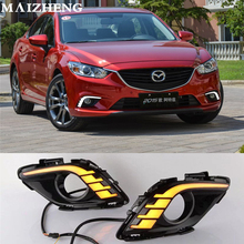 Turning Signal & Dimming style relay 12V LED car DRL daytime running lights with fog lamp hole for Mazda 6 Atenza 2013 2014 2015