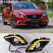Включение сигнала и затемнения стиль реле 12 В ВОДИТЬ Автомобиль DRL Противотуманные фары с Туман лампа отверстие для Mazda 6 Atenza 2013 2014 2015