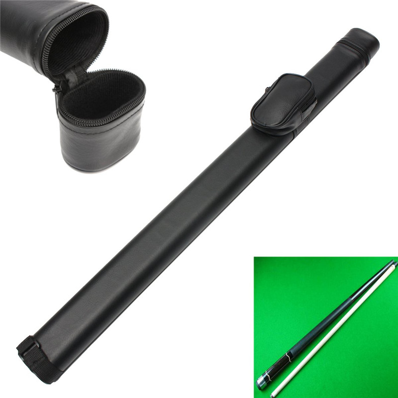 1x1 Hard Pool Cue Stick Carrying Case Billiard Canister 2 Holes 1 Butt+1 Shaft Black Color Snooker & Billiard Accessories