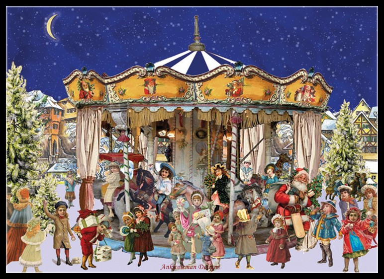 The Christmas Carousel 2 - Counted Cross Stitch Kits - DIY Handmade Needlework Embroidery 14 Ct Cross Stitch Sets DMC Color