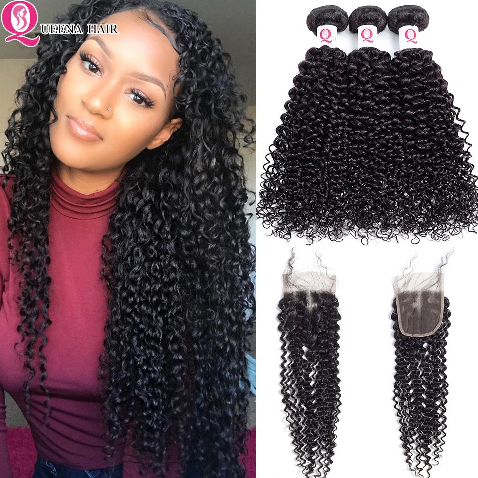 Queena Best Mongolian Kinky Curly Hair Bundles With Closure Remy Natural Color Pure Human Hair Curly Weave Bundles With Closure