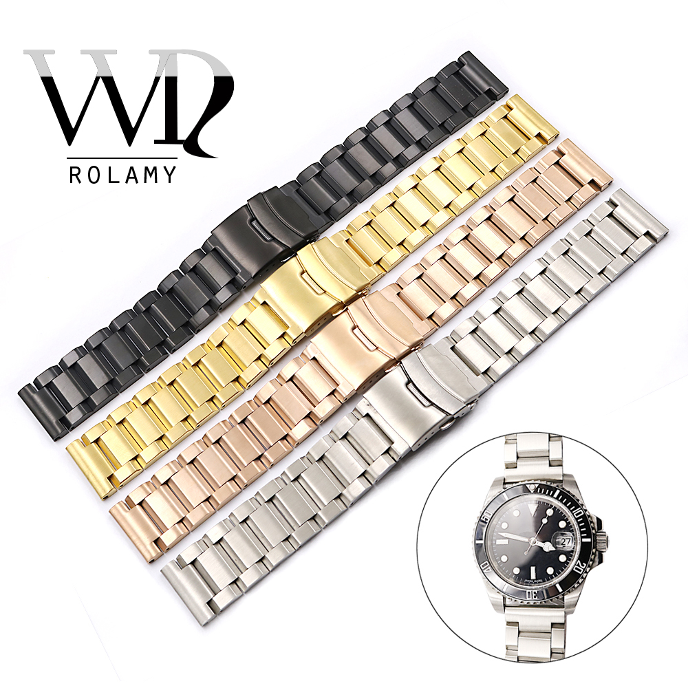 Rolamy 18 20 22 24mm Silver Gold Black Rose Gold Watch Band For Tag CARRERA Omega Montblanc Panerai Daytona Submariner Tissot