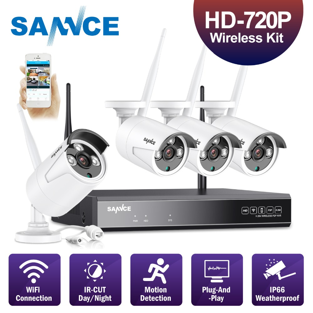 SANNCE 4CH 720P Wifi CCTV Security Camera System Wireless NVR Kit 1.0MP Outdoor Wifi Camera P2P Video Surveillance System Kit