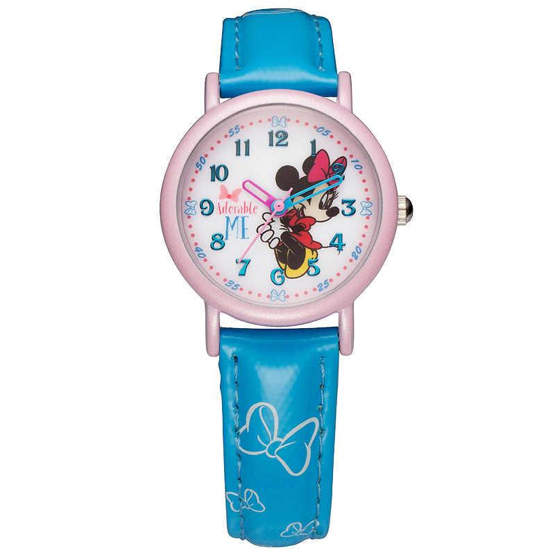 דיסני מותג cartoon מיני מאוס ילדי בנות סטודנטים עור קוורץ שעונים עמיד למים שעונים מקורי אריזת מתנה NO.MK-14031