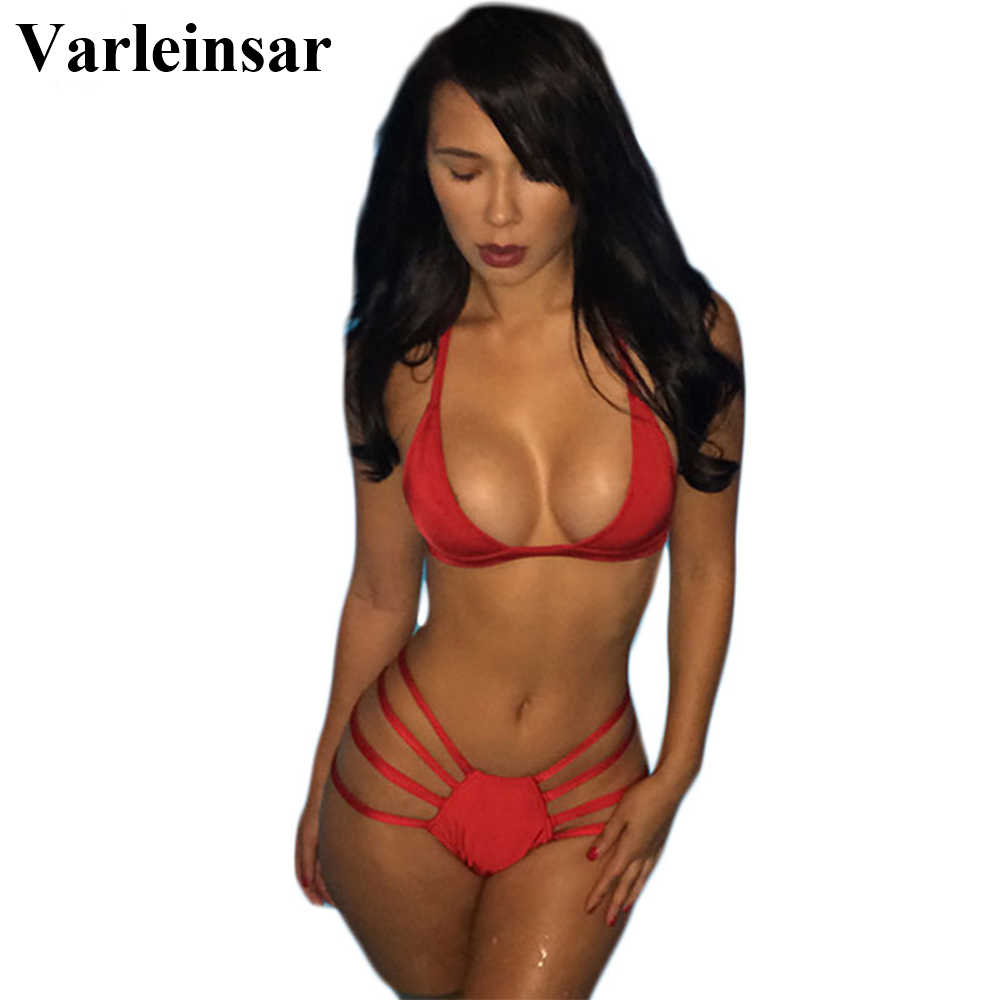 Bather Red Bikini Sexy Strappy Bikini Set Halter Two Pieces Swimsuit Female Swimwear Women