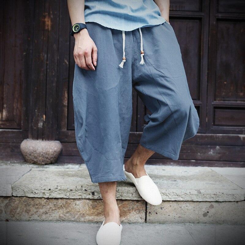PADEGAO Boho Loose linen Calf Length Harem Pants solid cotton drawstring  mens wide leg pants Chinese style Ethnic linen pants-in Harem Pants from  Men s ... 34b9fe1f955e