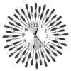 Wall Clock 3D Metal Wall Clock Diamonds Flower Non Ticking Silent Dazzling Clock For Home Office