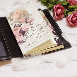 2018 Yiwi Retro Travel Bind  Planner Black White Rose flower Creative Travel  Notebook 22x13cm